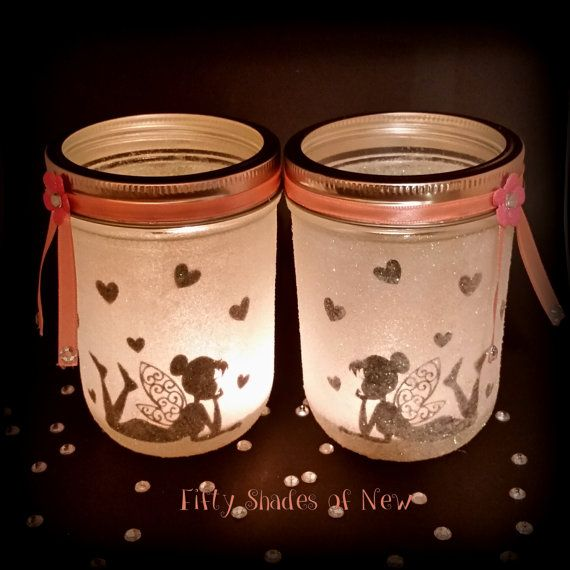 Set of 2 glitter Fairy jars night light by FiftyShadesofNew1