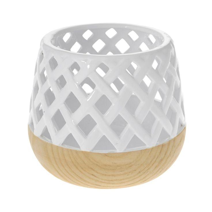 Βάζο δίχρωμο λευκό με σχέδιο δίχτυ και εφέ ξύλου, ιδιαίτερο διακοσμητικό σπιτιού, γάμου ή χώρου δεξίωσης για ένα μοντέρνο ύφος.Διάσταση: Φ19χ15