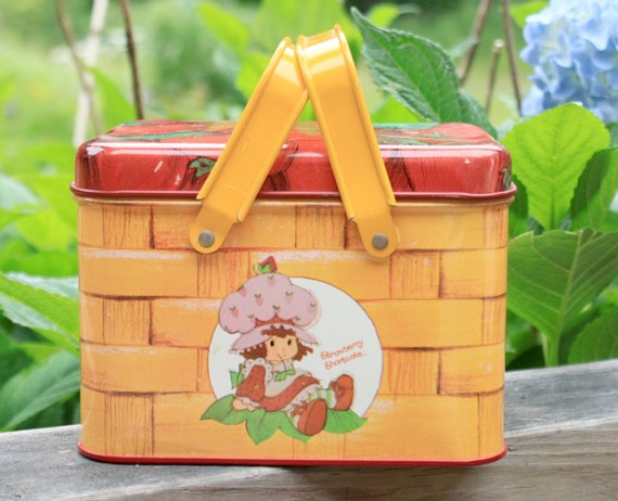 Vintage Strawberry Shortcake Lunch Box Tin With By