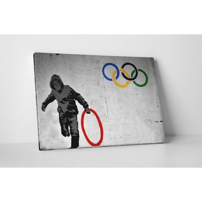 """PingoWorld """"Stolen Olympic Ring"""" by Banksy Painting Print on Wrapped Canvas Size: 16"""" H x 20"""" W x 0.69"""" D"""
