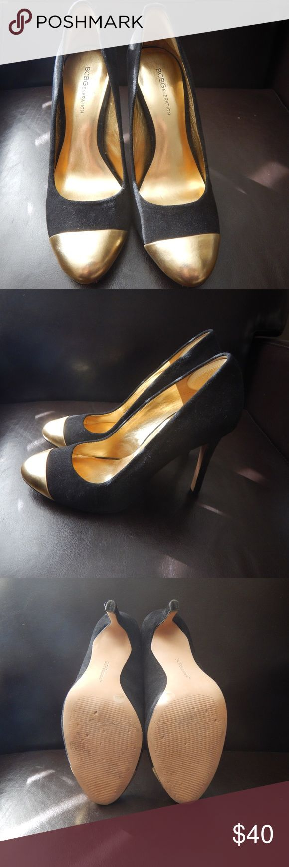 BCBGeneration Gold Capped Pumps Gold capped, round toe pumps. Worn twice. They also have a foam heel grip for additional comfort. BCBGeneration Shoes Heels
