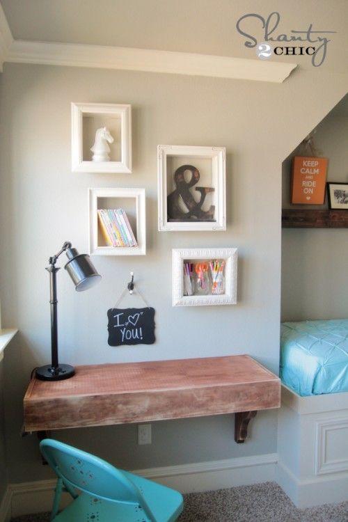 DIY display shelves using cheap frames... SO cute and easy! www.shanty-2-chic.com