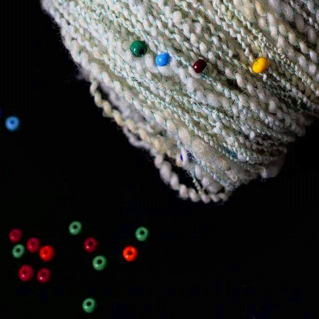 Sea Foam hand spun beaded art yarn♡
