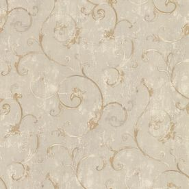 Norwall Patina Scroll Wallpaper  ~ Lowes Item #: 129764 |  Model #: FT23546 ~Product Type	Classic Adhesive-Prepasted Substrate	Peelable vinyl Care/Cleaning	-Scrubbable Pattern Match	-Straight Wallpaper Width (Inches)	20.5 Style	-Casual Design Type-Miscellaneous Color/Finish Family	Brown/Tan