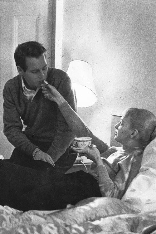 Hollywood's fairy tale couple , Paul Newman and Joanne Woodward, February, 1958. Coffee in bed.