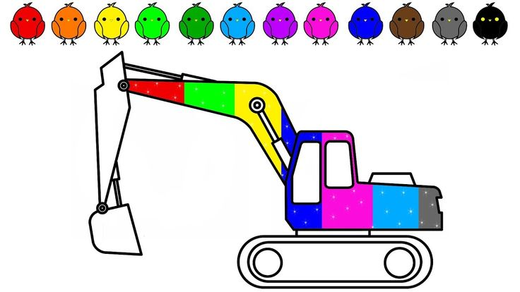 Construction truck colouring video, Car and Excavator Coloring pages for...