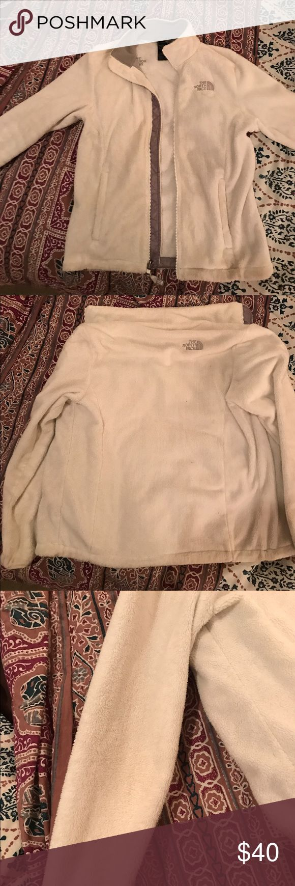 woman's north face jacket white north face jacket, worn a few times, some marks on the one sleeve but other than that it is in perfect condition! North Face Jackets & Coats