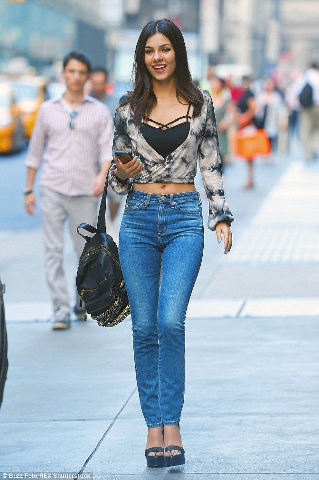 Victoria Justice works her magic in midriff-baring top in NYC