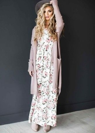 Team a rose pink open cardigan with a white floral maxi dress and you'll look like a total babe. Complement this look with grey suede chelsea boot…