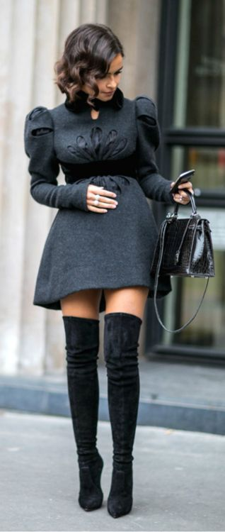 Love everything about this outfit - over the knee boots and felt dress!!