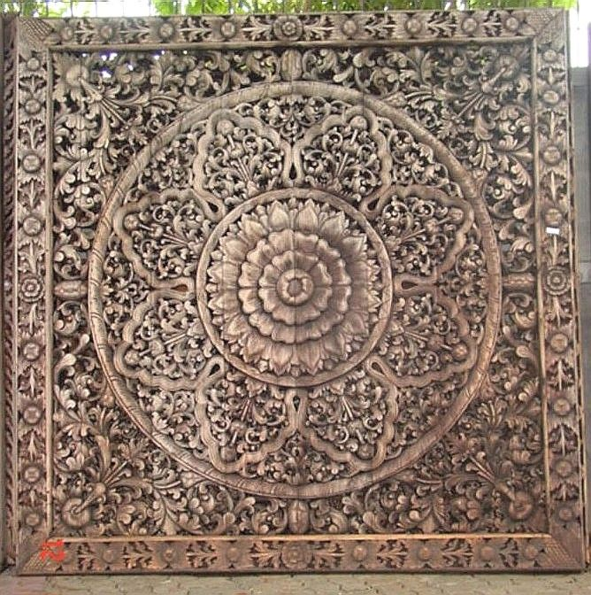 Hand carved teak wood panel from thailand intricately
