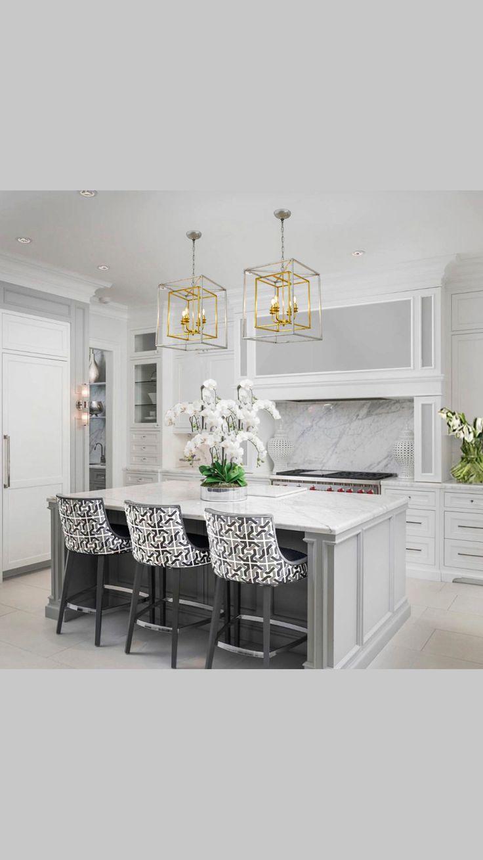 Elegant Kitchens, Luxury Kitchens, Beautiful Kitchens, Home Kitchens, Modern Kitchens With Islands, Modern White Kitchens, White Contemporary Kitchen, Remodeled Kitchens, Beautiful Kitchen Designs