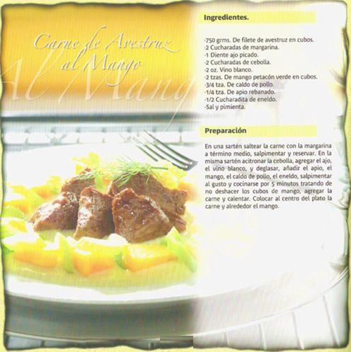 Recetas de Carne de Avestruz / Servicio de Banquetes Avestruz al mango