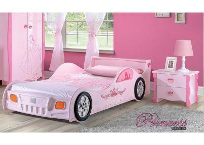Roze autobed voor meisjes, model Prinses | Kinderbedden