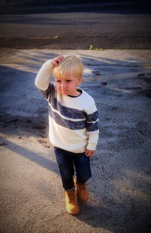 Timberland boots with jeans and sweater outfit look for toddler boy.  #timberland, #boots, #toddler, #boys, #kids, #fall, #outfit, #jeans