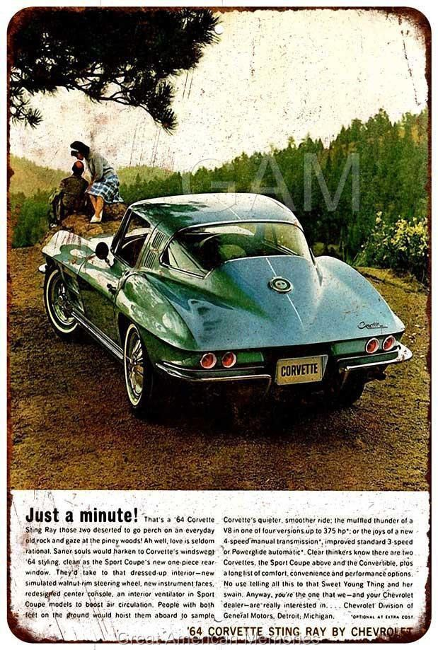 1960 Corvette Vintage Look Reproduction Metal Sign