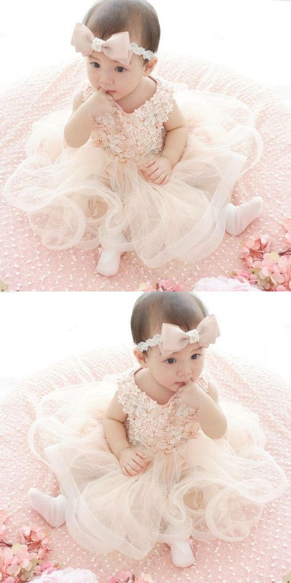 5699520984e A-Line Round Neck Pearl Pink Tulle Flower Girl Dress with Appliques Pearls