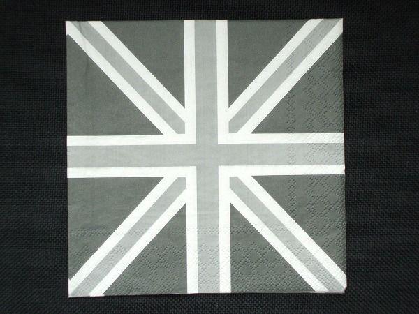 Serviette en papier drapeau anglais gris union jack grey london union jac - Drapeau anglais gris ...