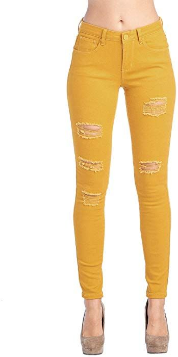 11e449144faf ICONICC Women's Butt Lifting Ripped Skinny Jeans Mustard Yellow  (JP0048T_Mustard_1) at Amazon Women's Jeans store