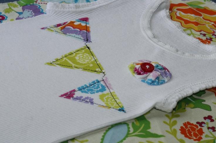 Baby Girl 'Summer Carnival' Bunting & Yo-yo Singlet/Tank Top. $16.00, via Etsy.: Girl Gifts, Singlet Idea, Carnival, Girly Things, Baby Girls, Clothes Ideas