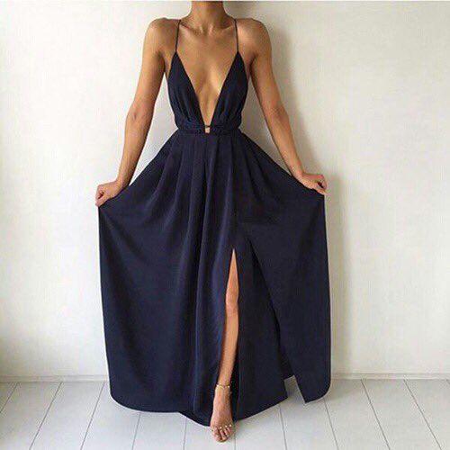 Elegant deep-blue Dress - Tiefaues elegantes Kleid mit unterem Schlitz und tiefe Ausschnitt