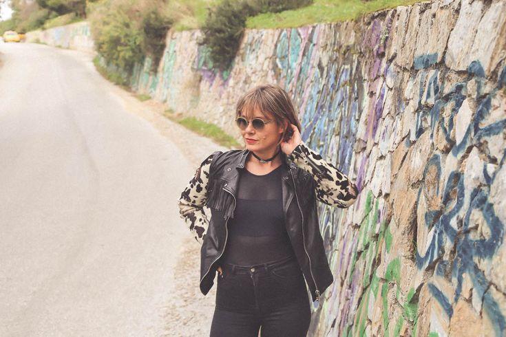 leather jacket fashion blogger look style