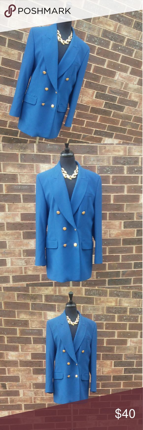 """Elegant Royal blue blazer This is a new condition blazer elegant and soft. Size 14 in the USA. There are extra buttons. This is truly a beautiful color. Pickets aren't usable.  30"""" long. Marks&Spencer Jackets & Coats Blazers"""