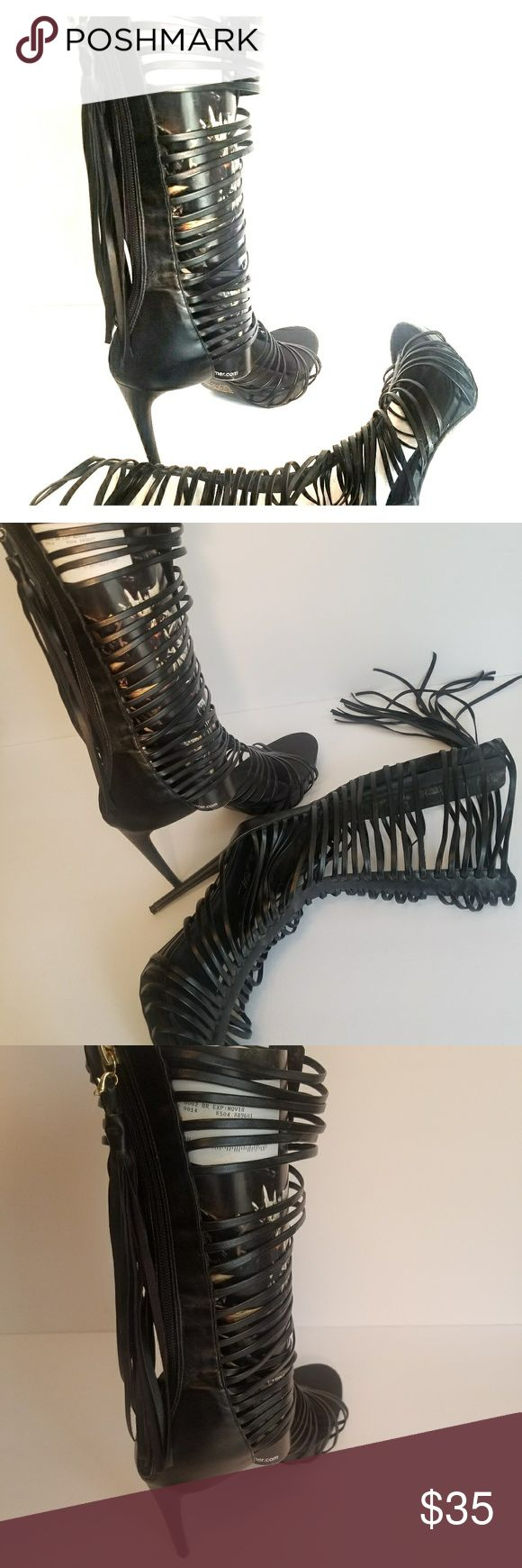 Women shoes Black zip/Strapy heels with tassels breckell's Shoes