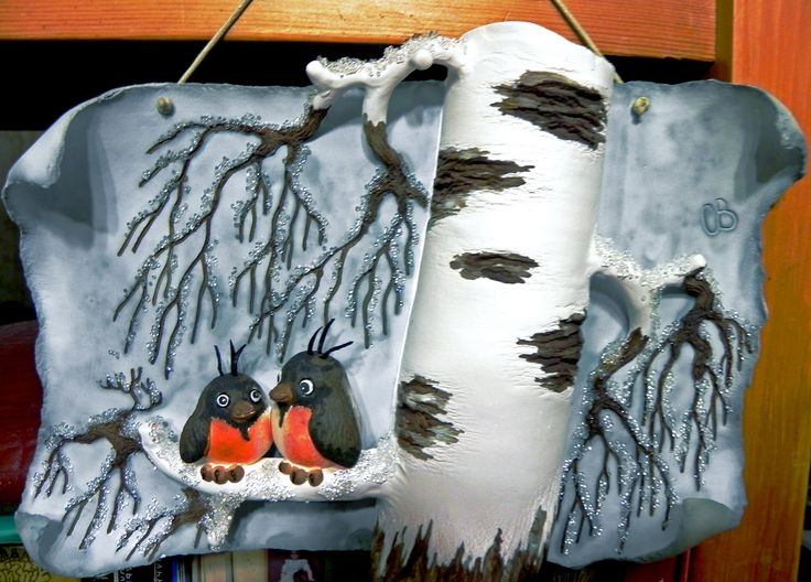 "настенная картина материал: керамика (фаянс) ""снегири"""