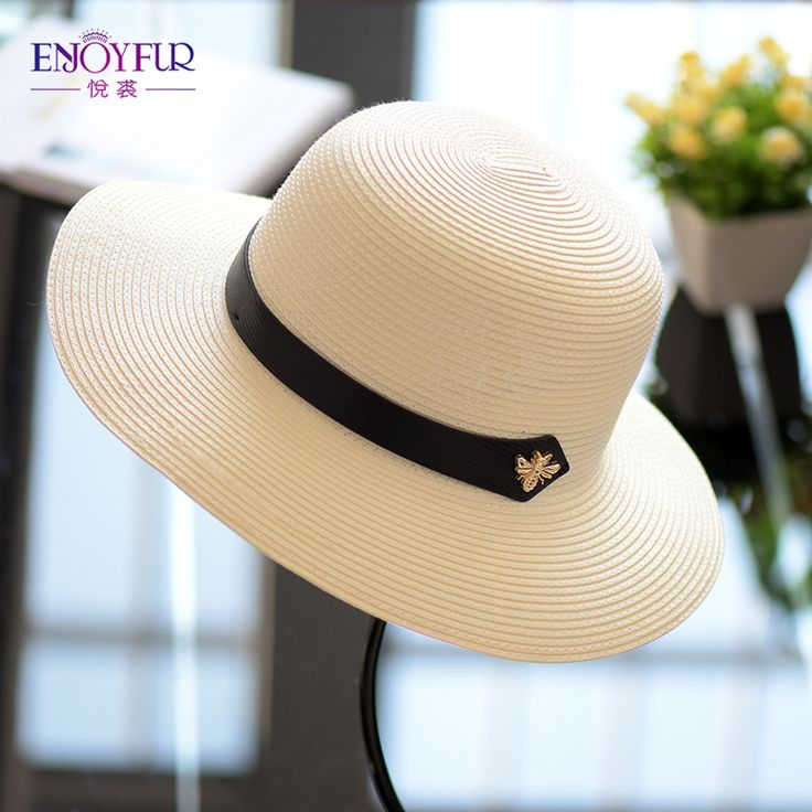 ENJOYFUR women sun hat for Spring Summer straw hats female large brim sunscreen hat good quality beach cap