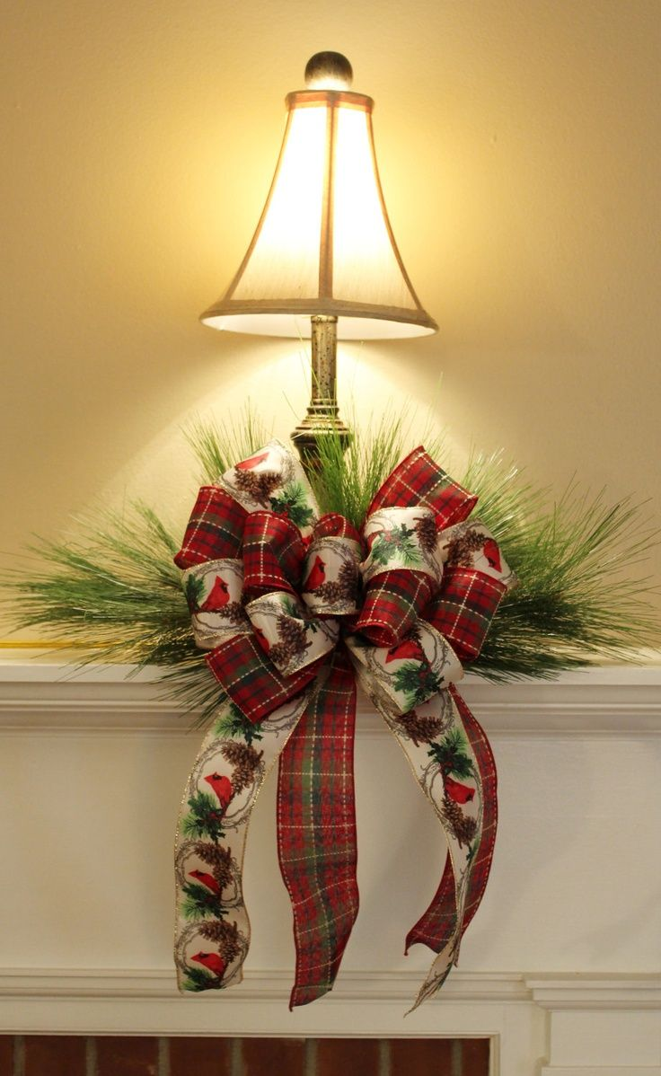 What A Simple & Elegant Way To Dress Up A Plain Lamp...Just Add Greenery & Pretty Ribbon...