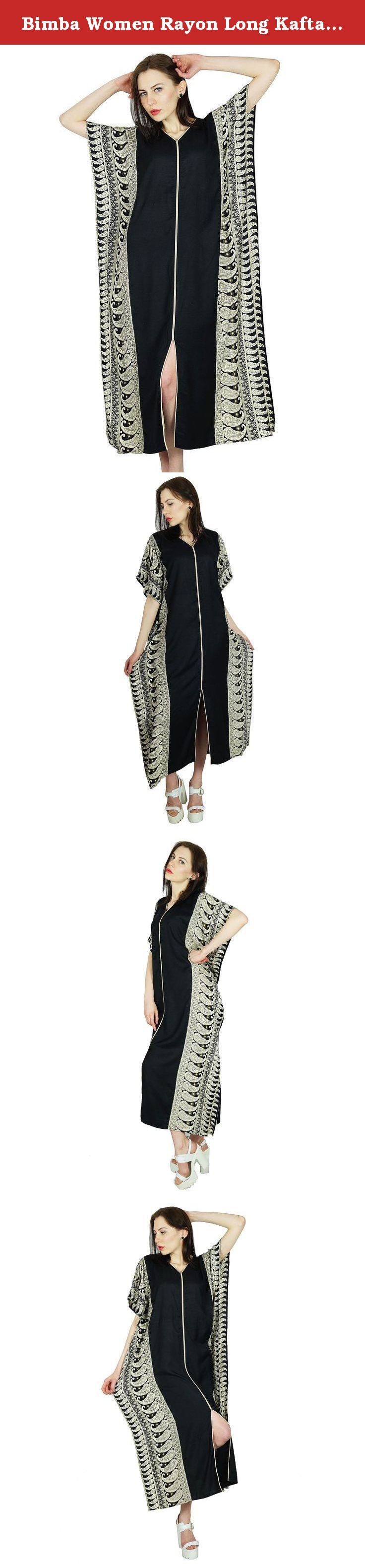 Bimba Women Rayon Long Kaftan Black Caftan Maxi Gown Coverup Top. Bimba's latest collection showcases a plethora of amazingly designed kaftans in full length for casual occasion. Black in color with a stylish front slit the kaftan has a solid pattern with eye catching geometric prints on both the sides. The adorable kimono sleeves adds to the appeal of the kaftan. The key feature of the kaftan is its fabric-Rayon. Comfortable, light in weight and soft, a Rayon kaftan can be adorned easily...
