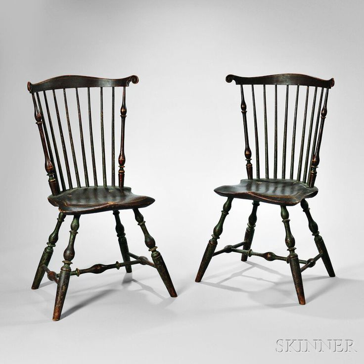 fine pair of painted fanback windsor side chairs probably c