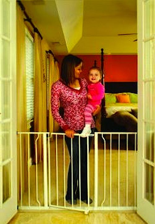 Baby Gate Extra Wide Pressure Mounted Walkthrough Toddler Child Kids Pet Safety #Regalo