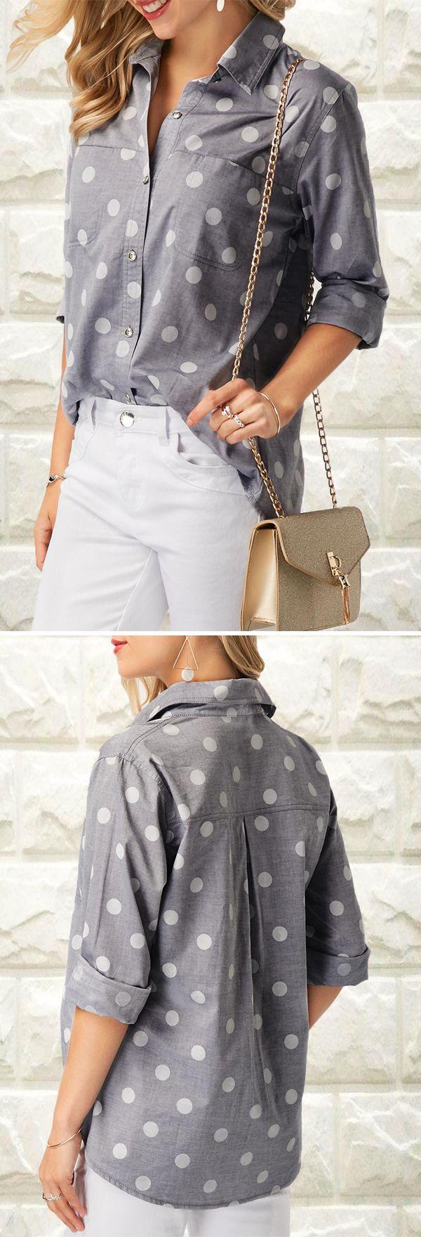 "Polka Dot Print Turndown Collar Shirt ""Adoring collars, buttons and polka dots"""