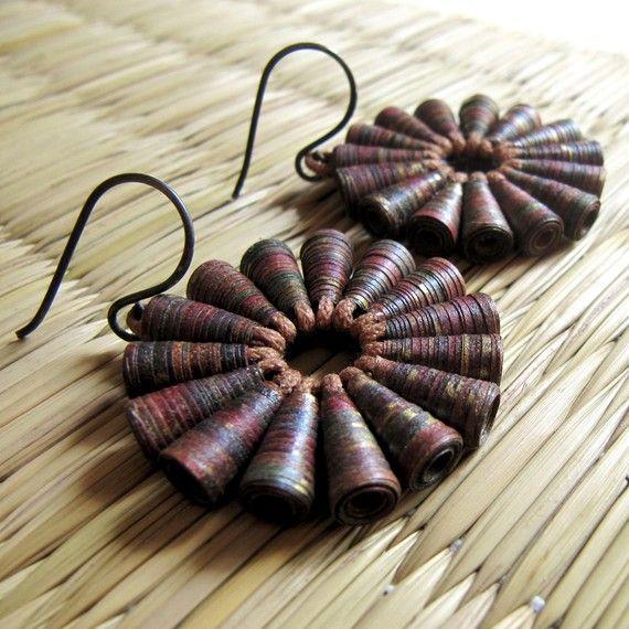 Brown Earrings - Paper bead jewelry - Upcycled Jewelry - Tribal Earrings - Rustic earrings - Chunky, Autumn, Fall - Dark Brown, Gold. $45,00, via Etsy.