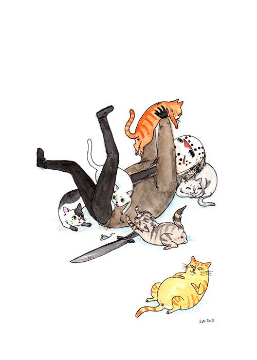 "Friday the Purrteenth - 5x7"" Jason Voorhees with Cats Print"