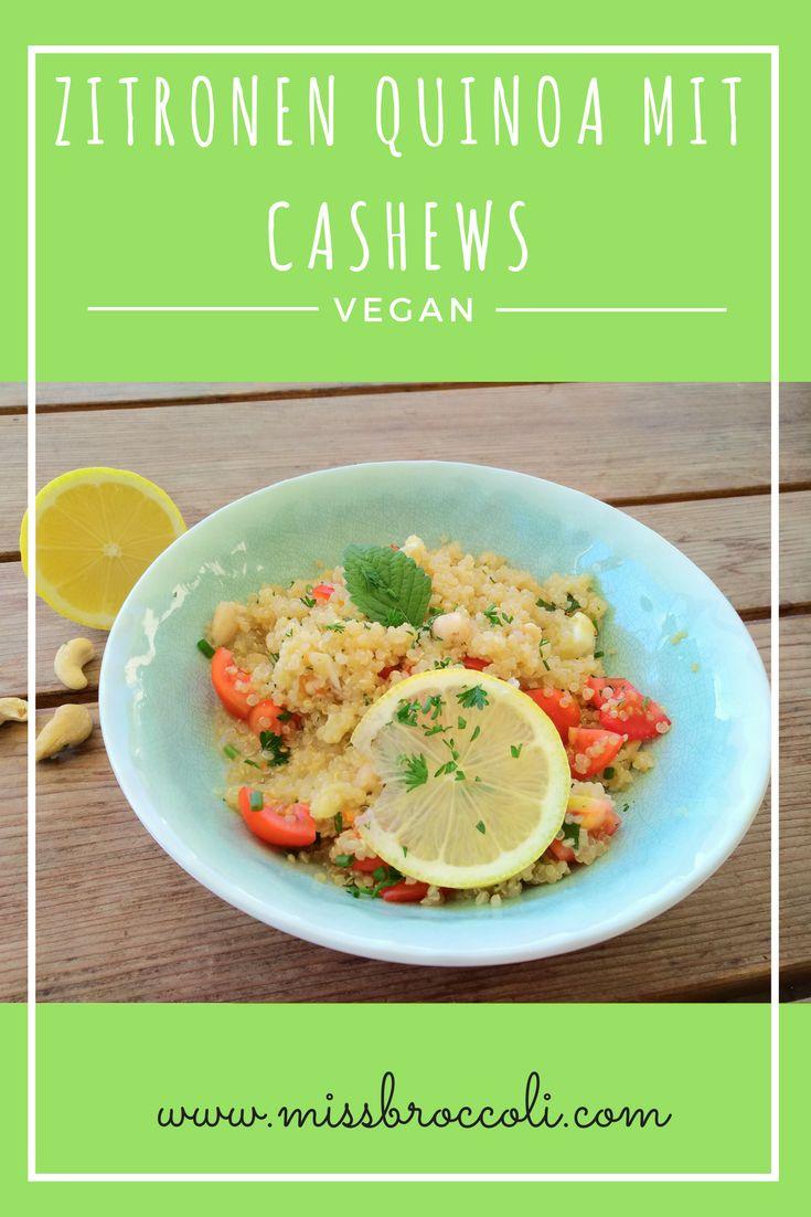 Leicht und sehr lecker im Sommer, dieses vegane Quinoa mit Zitrone, Tomate und Cashews.