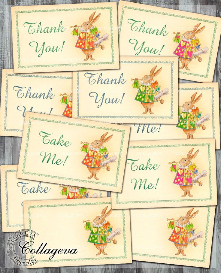 Printable Thank You Tags, Take Me Tags, Alice in Wonderland Rabbit Hand painted Watercolor Vintage Gold Red Pink Green Party Favors (T006-t) by collageva on Etsy
