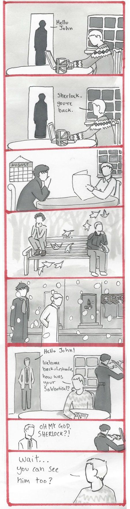 I think the first two panels of this might just be the least dramatic post-Reichenbach ever. Story roughly based on this post I saw on Tumblr: which also inspired this fanfic: all my BBC Sherlock c....