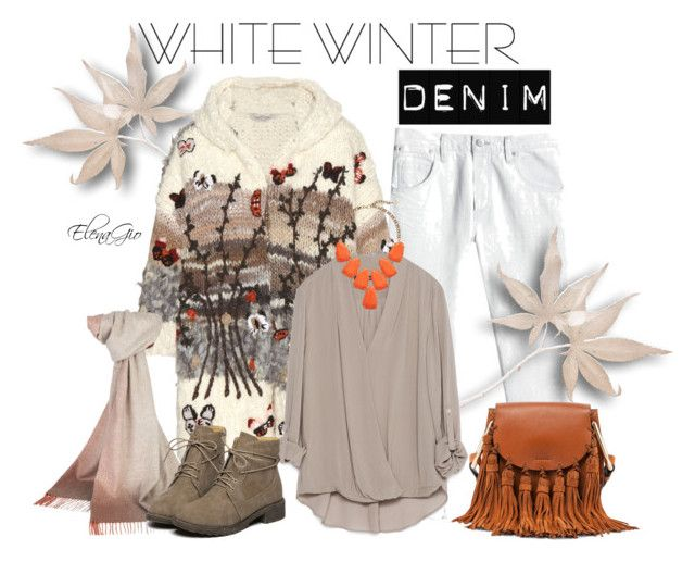 white denim by elenagio on Polyvore featuring Zara, Valentino, Rebecca Taylor, Chloé, Kendra Scott and Johnstons of Elgin
