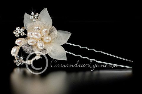Bridal Hair Pin with Fabric and Pearl Flower