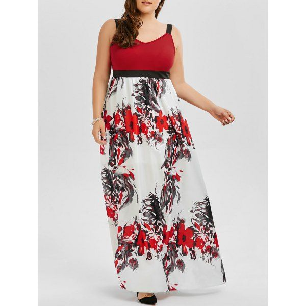 Floral A Line Plus Size Maxi Prom Dress -  5xl