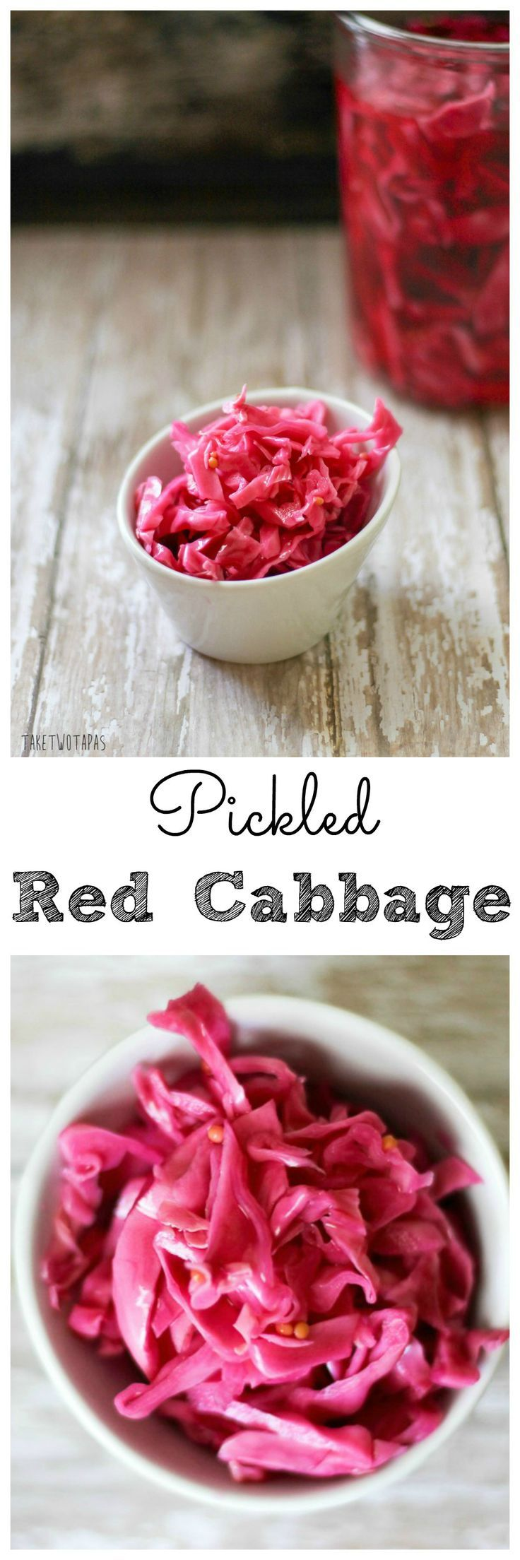 This crunchy picked cabbage is a bright purpler color and adds crunch and a tart flavor to any dish! Pickled Red Cabbage | Take Two Tapas