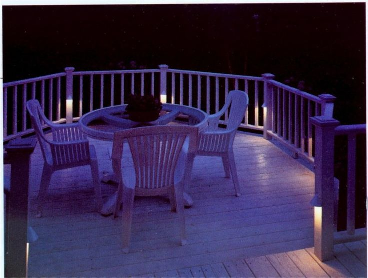 Outdoor Deck Lights with Cozy Style: Landscape and Deck Lighting with white color scheme ideas