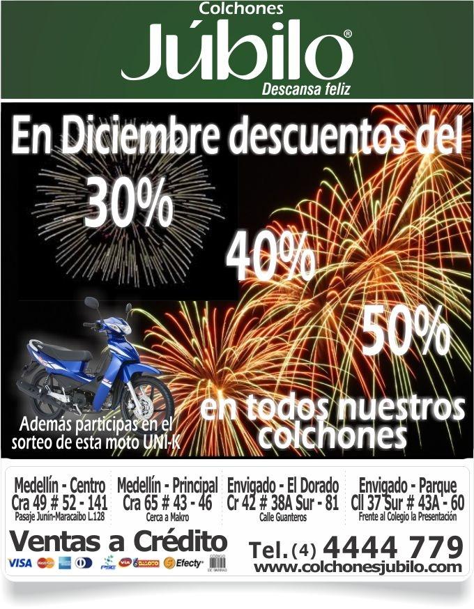 En diciembre descuentos del 30%, 40% y 50%. Llamanos (4) 4444 779 - www.colchonesjubilo.com