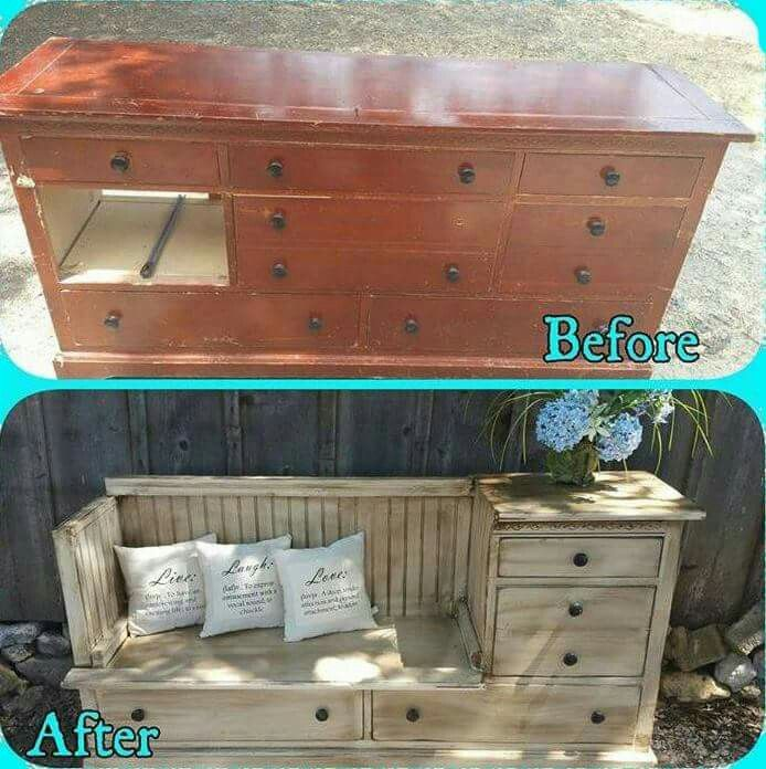 Dresser into a storage bench