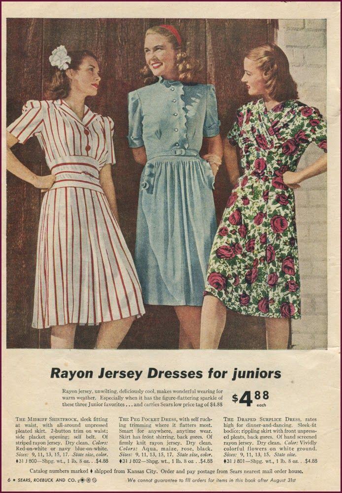Sears Summer 1944 Rayon Jersey Dresses Juniors