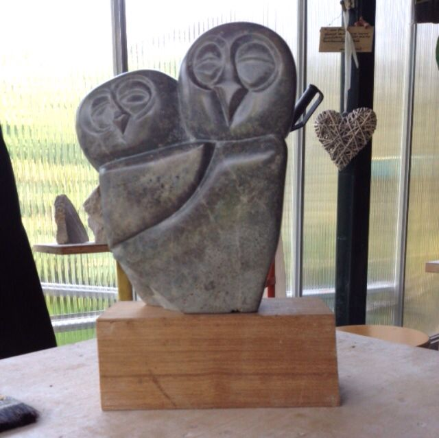 Owl made by Pink by HannaH 20x25x15cm. Sculpture soapstone