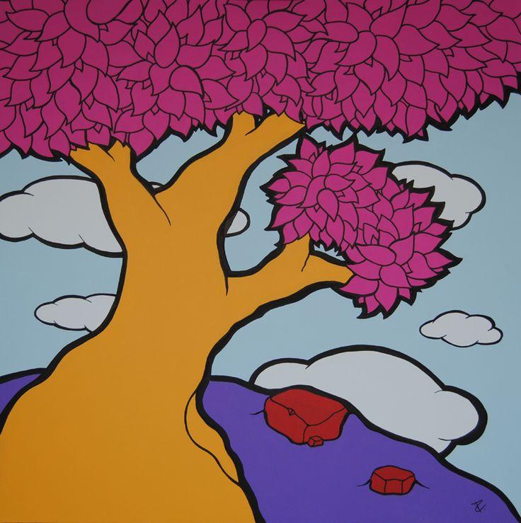Albero pensiero 10 Acrylic on canvas 100×100 cm 2016